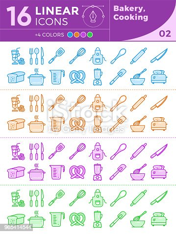 Unique Linear Icons Set Of Bakery Cooking With Different Colors Suitable For Banners And Other Types Stock Vector Art & More Images of Bakery 965414544