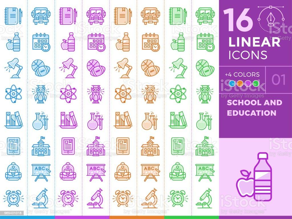 獨特的線性圖示, 不同顏色的橫幅和其他類型的學校和教育 - 免版稅化學圖庫向量圖形