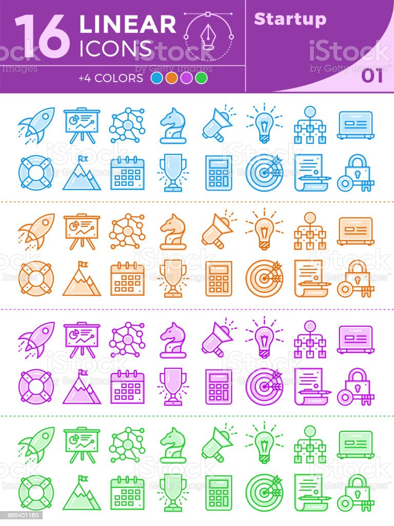 Unique linear icons with different color for banners and other types of new business design. royalty-free unique linear icons with different color for banners and other types of new business design stock vector art & more images of business