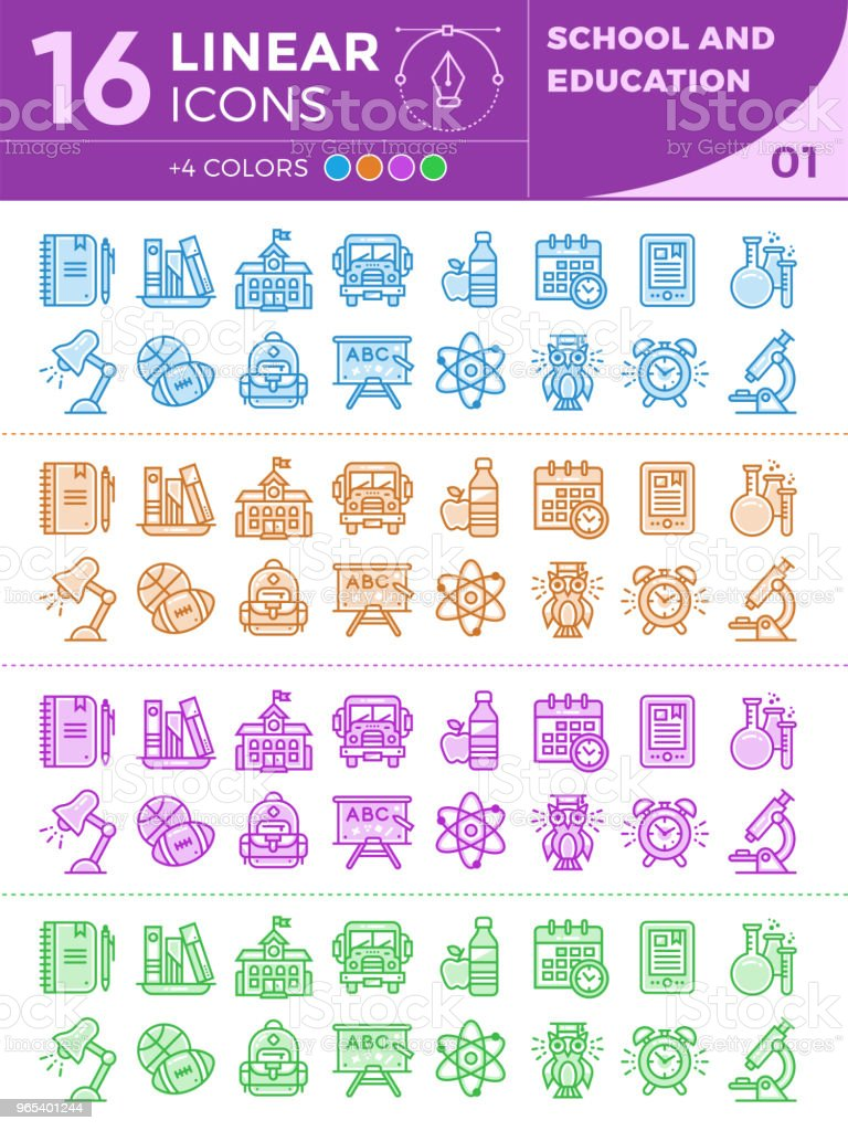 Unique Linear Icons With Different Color For Banners And Other Types For School And Education Stock Vector Art & More Images of Alarm Clock