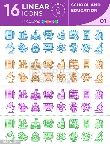 Unique Linear Icons With Different Color For Banners And Other Types For School And Education Stock Vector Art & More Images of Alarm Clock 965401244