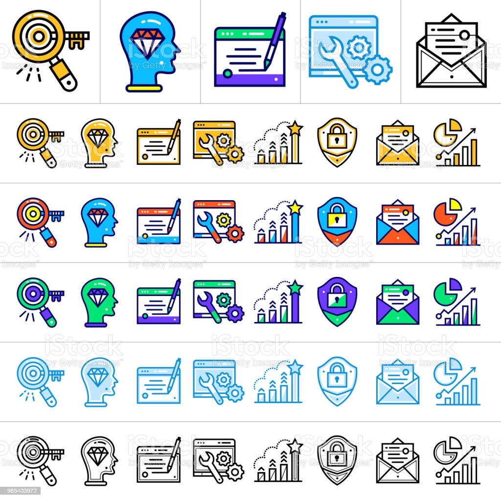 Unique linear icons with different color for banners and other types of new business design unique linear icons with different color for banners and other types of new business design - stockowe grafiki wektorowe i więcej obrazów badacz rynku royalty-free