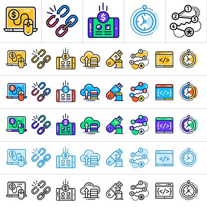 배너 및 새로운 비즈니스 디자인의 다른 종류를 위한 다른 색깔을 가진 독특한 선형 아이콘 0명에 대한 스톡 벡터 아트 및 기타 이미지