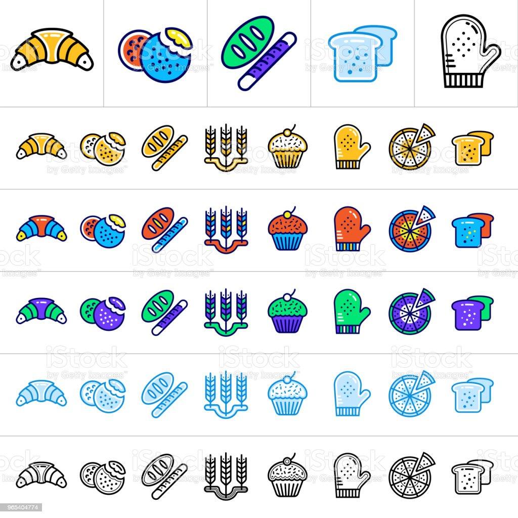 Einzigartige lineare Symbole mit verschiedenen Farben für Banner und andere Arten von neuen Business-design - Lizenzfrei Brotsorte Vektorgrafik