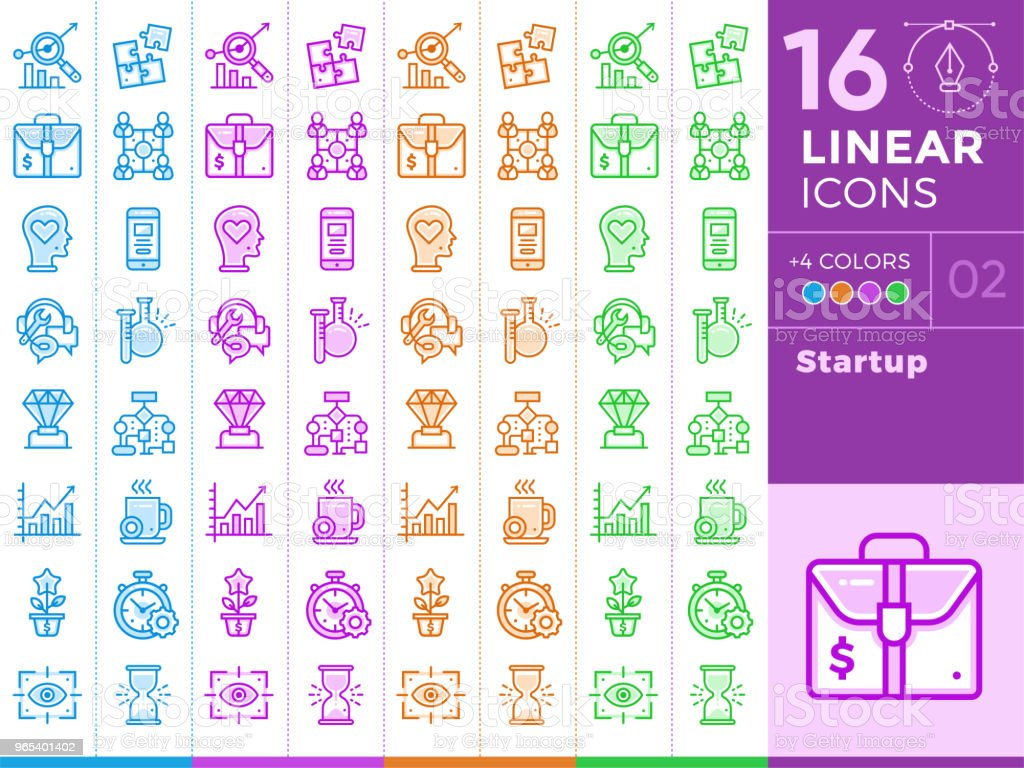 Unique linear icons with different color for banners, website and other types of new business design royalty-free unique linear icons with different color for banners website and other types of new business design stock vector art & more images of business