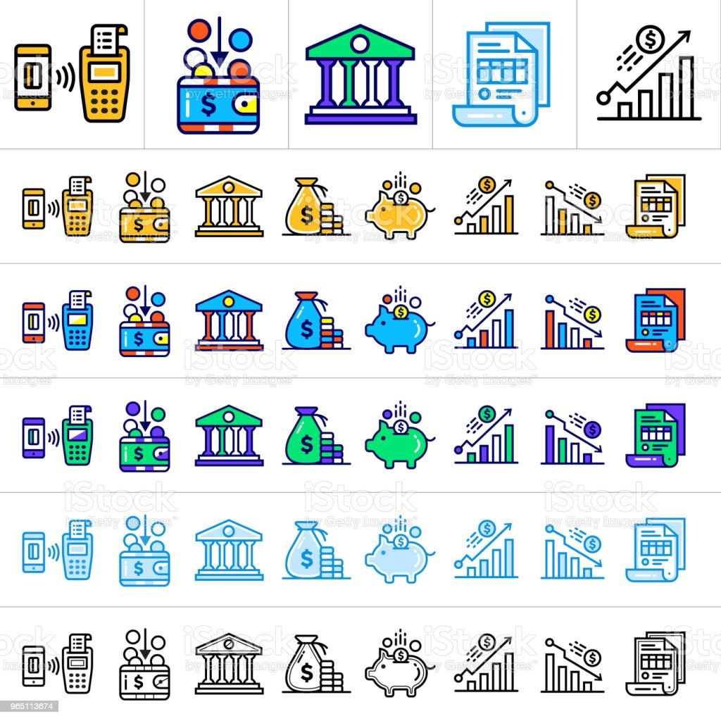 Unique linear icons with different color of finance, banking. Suitable for banners and other types of design unique linear icons with different color of finance banking suitable for banners and other types of design - stockowe grafiki wektorowe i więcej obrazów bankowość royalty-free