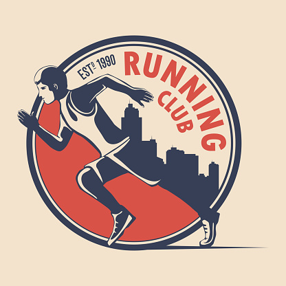 Unique logo design for a running club. a symbol for a sports organization, a tournament, a marathon. Vector illustration