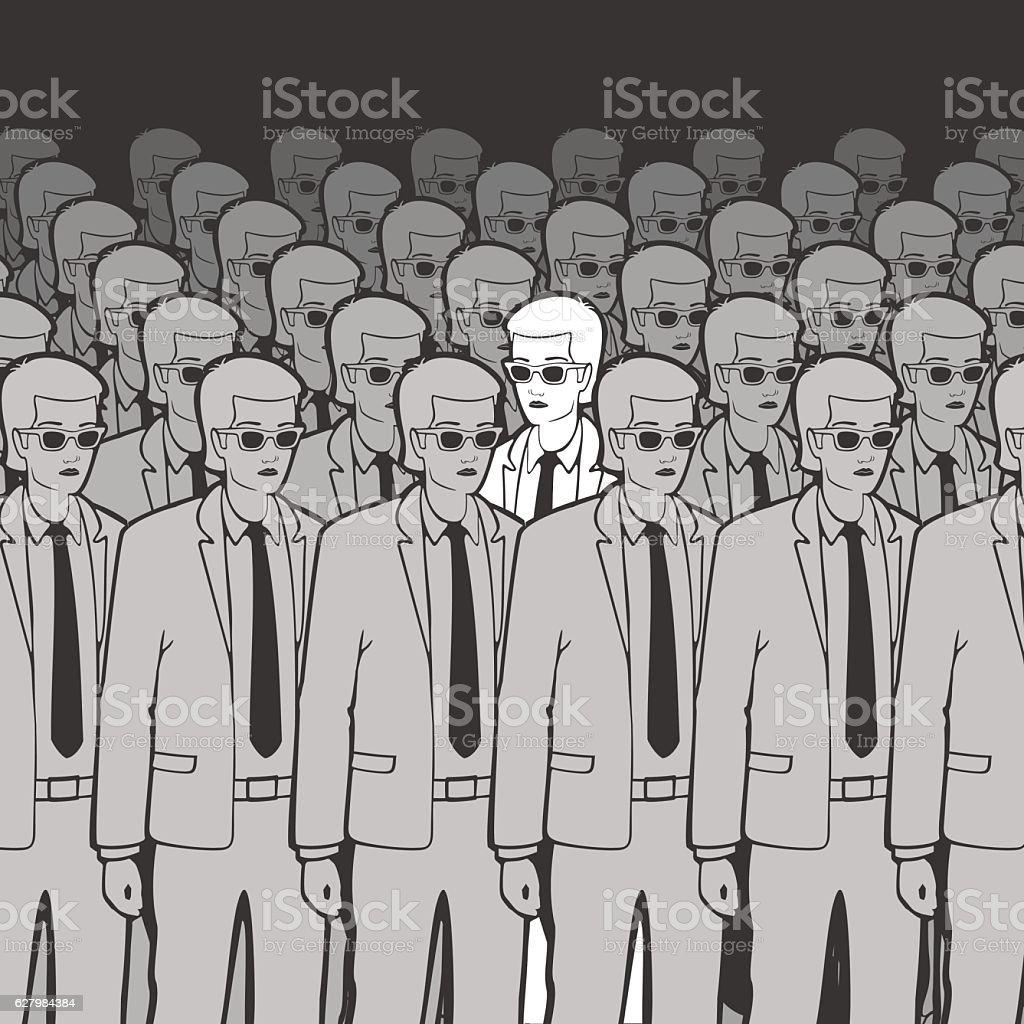 Unique Man in the Crowd Vector Illustration vector art illustration