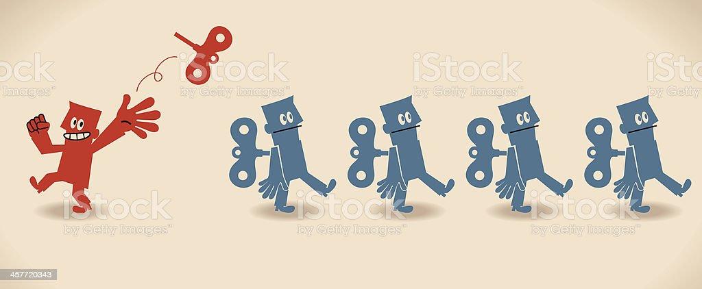 Unique manager and group of robot businessman (businessmen) vector art illustration