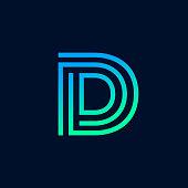 Unique modern creative elegant letter D based vector icon logo template.