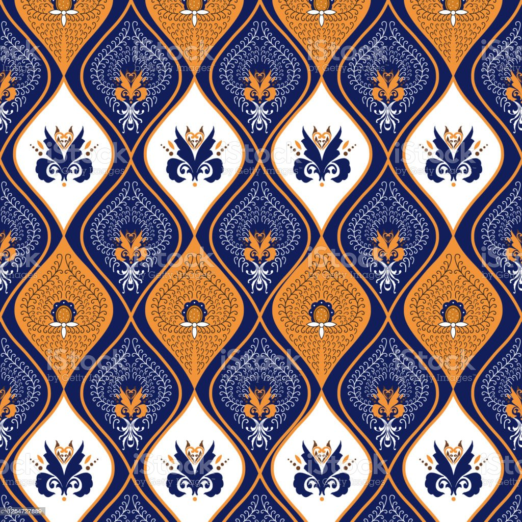 Unique Pattern On Indonesian Batik Design With Modern Blue