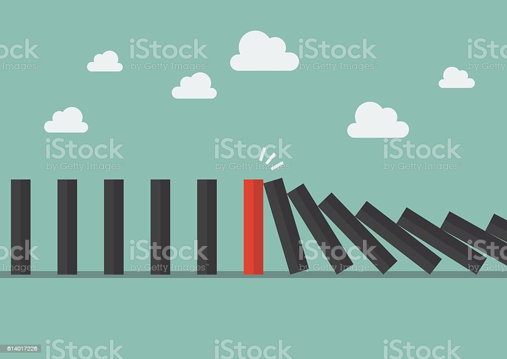 Unique red domino tile among many black dominoes vector art illustration