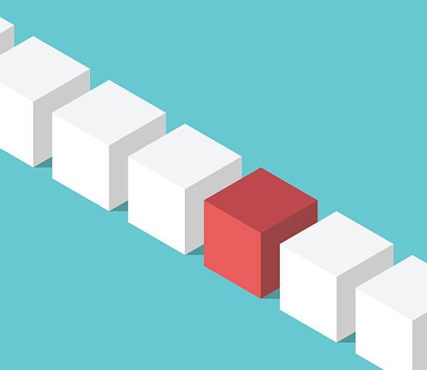 ilustrações de stock, clip art, desenhos animados e ícones de unique red isometric cube - box separate life