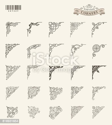 Unique retro corner for frames. Vintage vector patterns for invitations and royal certificates, menus and decorative covers