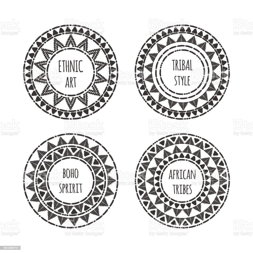 Unique round shape badge template vector art illustration