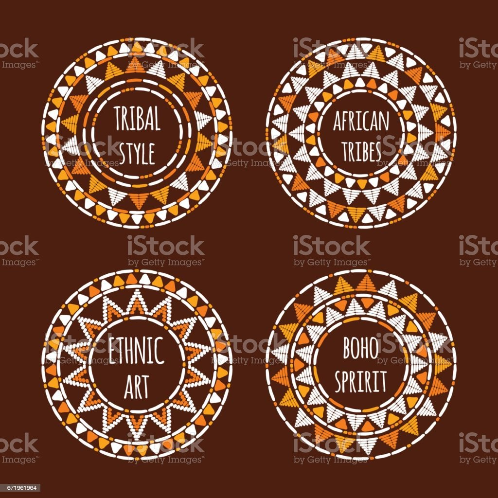 Unique round tribal icon template collection vector vector art illustration