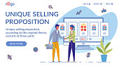 Unique Selling Proposition Landing Page Template. USP Marketing Strategy Website Homepage Flat Vector Layout. Seller and Buyer Cartoon Characters. Brand Switching Deal Web Banner, Webpage