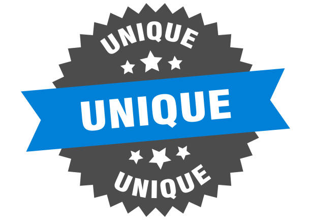 unique sign. unique blue-black circular band label unique sign. unique blue-black circular band label blue silhouettes stock illustrations