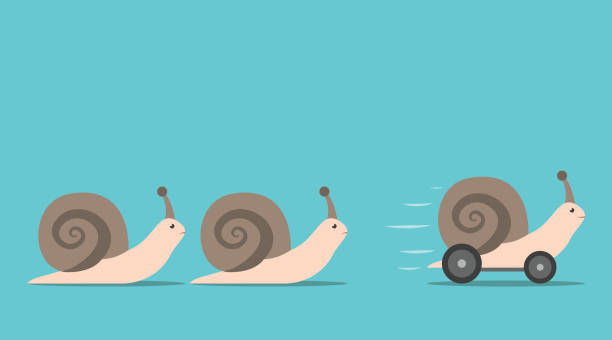 unique snail with wheels - snail stock illustrations