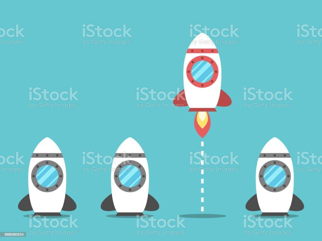 Unique space rocket launching vector art illustration