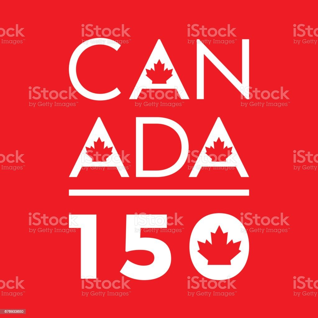 A unique typographic design celebrating Canada's 150th anniversary in vector format. vector art illustration