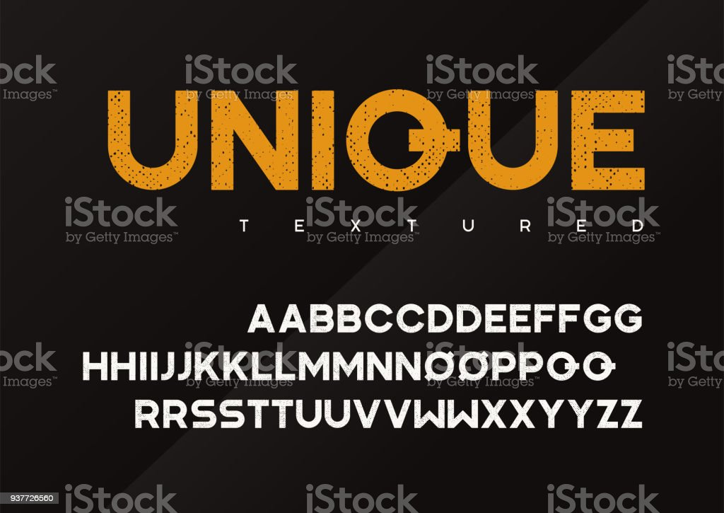 Grunge unique vecteur texturé lettres majuscules, alphabet, police, police d'affichage industriel, typographie. - Illustration vectorielle