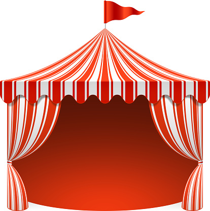 A unique white and red striped circus tent that is opened up