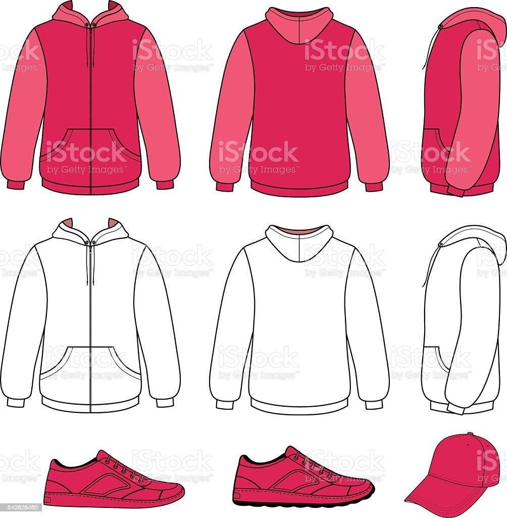 Unisex hoodie, cap, sneakers set vector art illustration