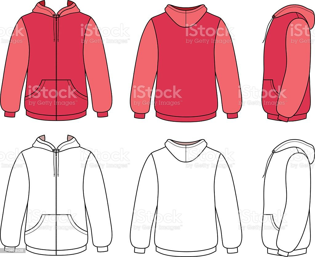 Unisex hoodie template (front, side & back outlined view) vector art illustration