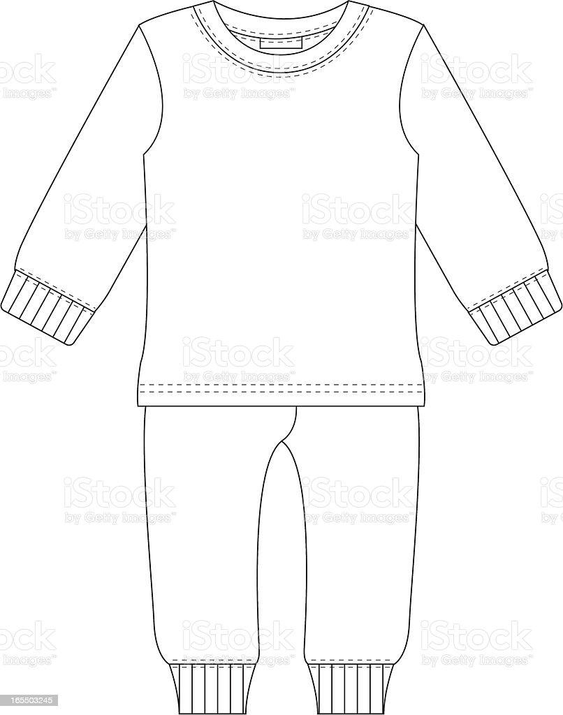 Unisex Pyjama Set Template vector art illustration