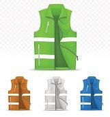 Unisex reflective vest isolated on transparent background