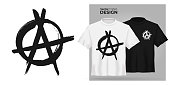 Unisex t-shirt mock up set with Anarchy hand drawn brush vector symbol. 3d realistic shirt template with Punk rock protest letter A icon. Black and white tee mockup, front view design