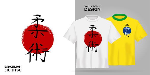 Unisex t-shirt mock up set with japanese hierogliph - brazilian jiu jitsu. 3d realistic shirt template. Yellow and white tee mockup, front view design japan martial bjj art print. - Vector