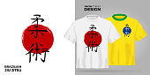 Unisex t-shirt mock up set with japanese hierogliph - brazilian jiu jitsu. 3d realistic shirt template. Yellow and white tee mockup, front view design japan martial bjj art print. - Vector