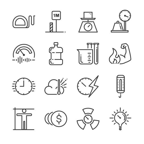 Einheit der Messung-Icon-Set. Enthalten die Symbole als Meilen, Meter, Tonne, Kilogramm, Dezibel, Grad Celsius und mehr. – Vektorgrafik