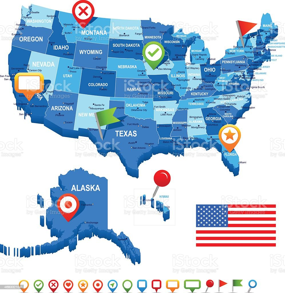 Unite States Map Flag And Navigation Icons Illustration Stock - Us states map