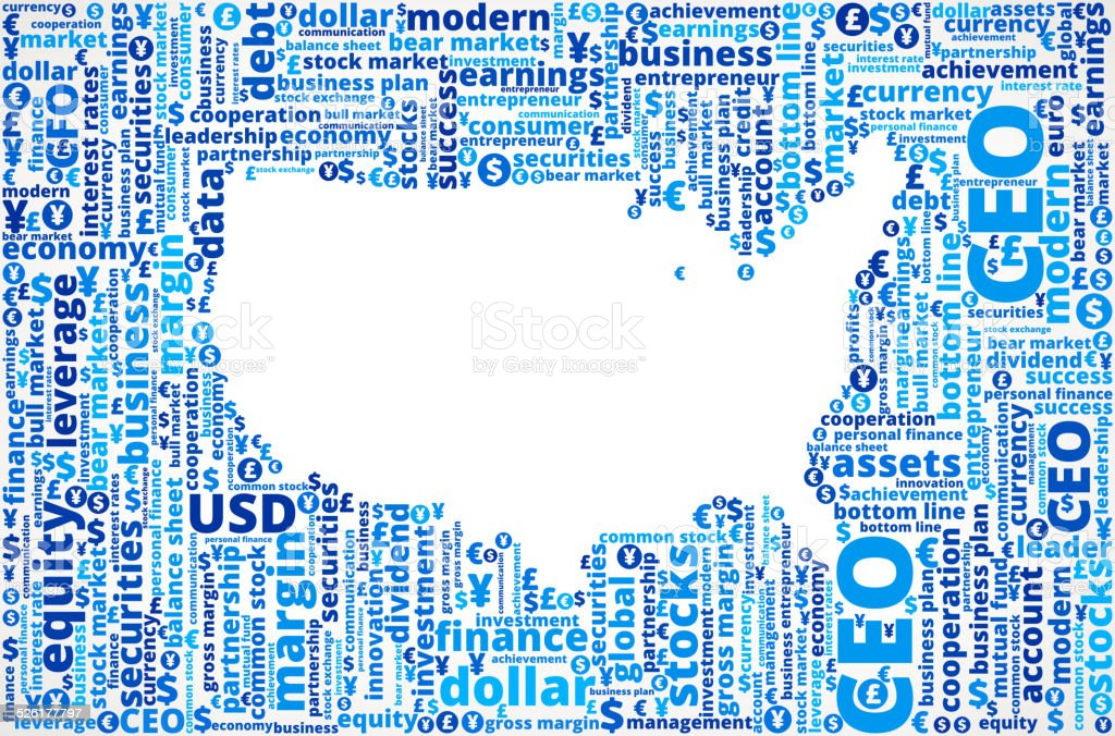 Unite States Map On Business And Finance Word Cloud Stock Vector Art