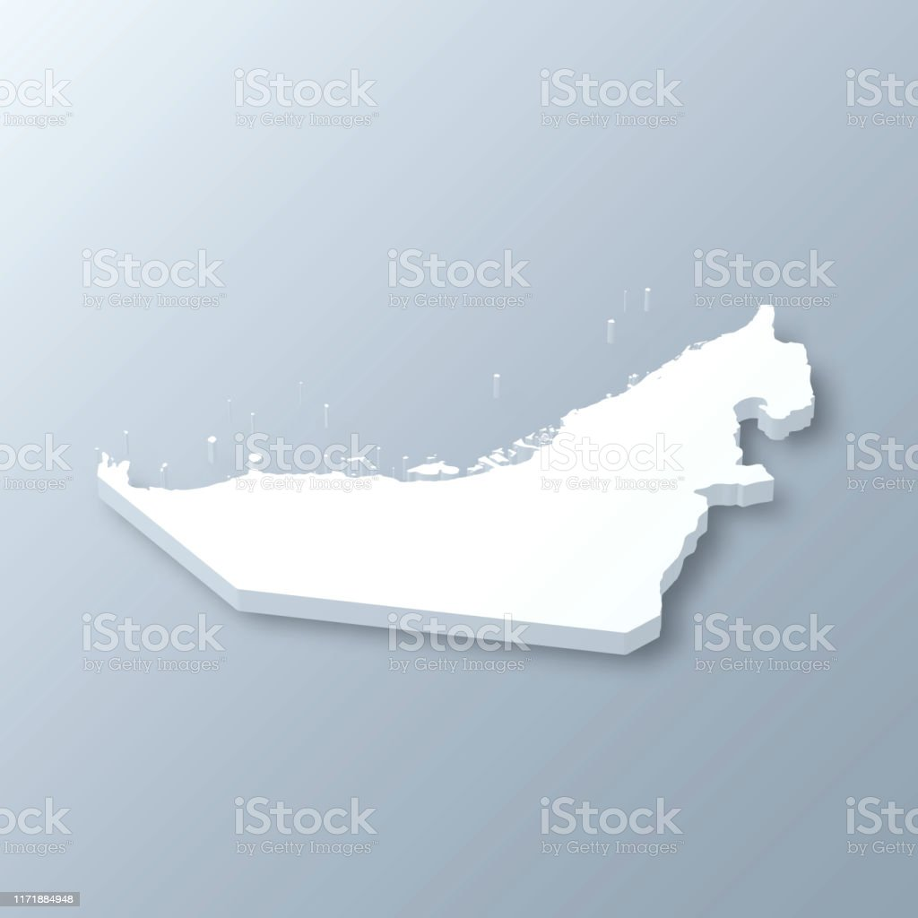 United Arab Emirates 3D Map on gray background - Royalty-free Abstract stock vector