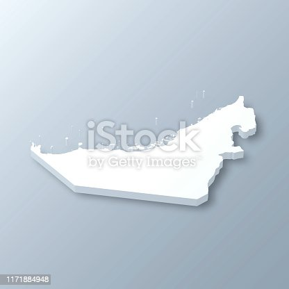 3D map of United Arab Emirates isolated on a blank and gray background, with a dropshadow. Vector Illustration (EPS10, well layered and grouped). Easy to edit, manipulate, resize or colorize.