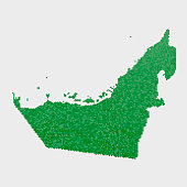 United Arab Emirates Country Map Green Hexagon Pattern