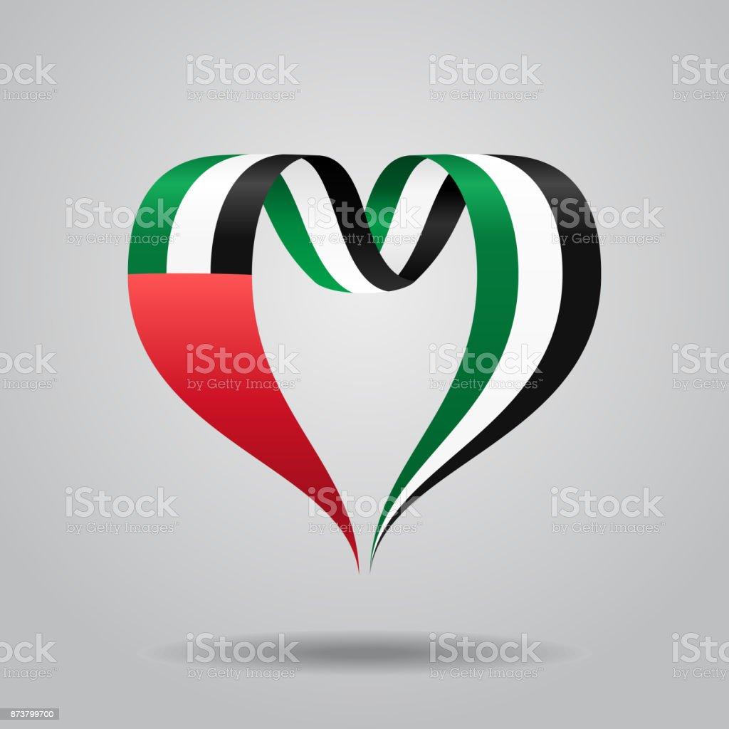 United Arab Emirates flag heart-shaped ribbon. Vector illustration. vector art illustration