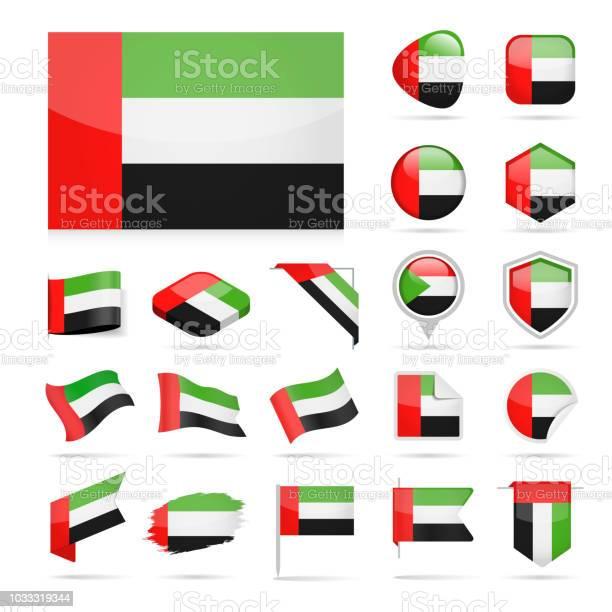 阿拉伯聯合大公國旗幟圖示光澤向量集向量圖形及更多一組物體圖片