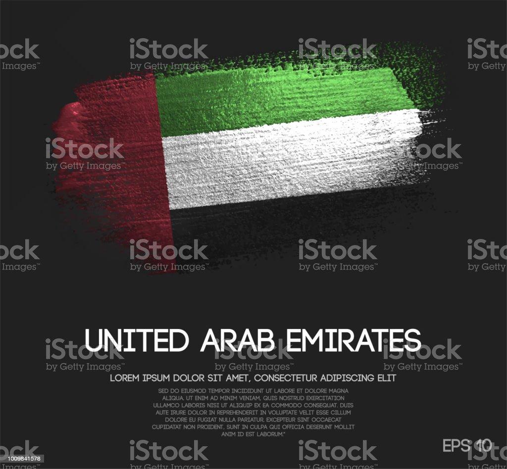阿拉伯聯合大公國國旗用閃光閃光刷漆載體製成 - 免版稅亮粉圖庫向量圖形