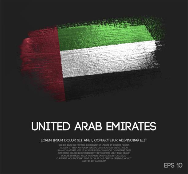united arab emirates flag made of glitter sparkle brush paint vector - uae flag stock illustrations
