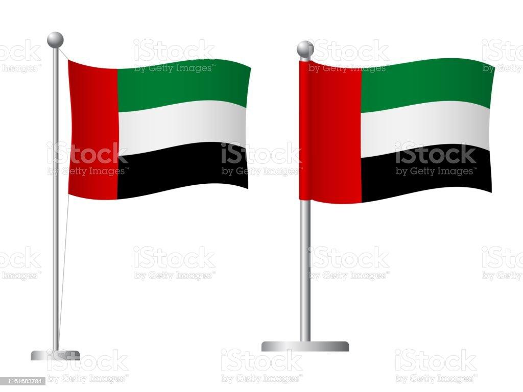 阿拉伯聯合大公國國旗在極形圖示 - 免版稅國家 - 地域圖庫向量圖形