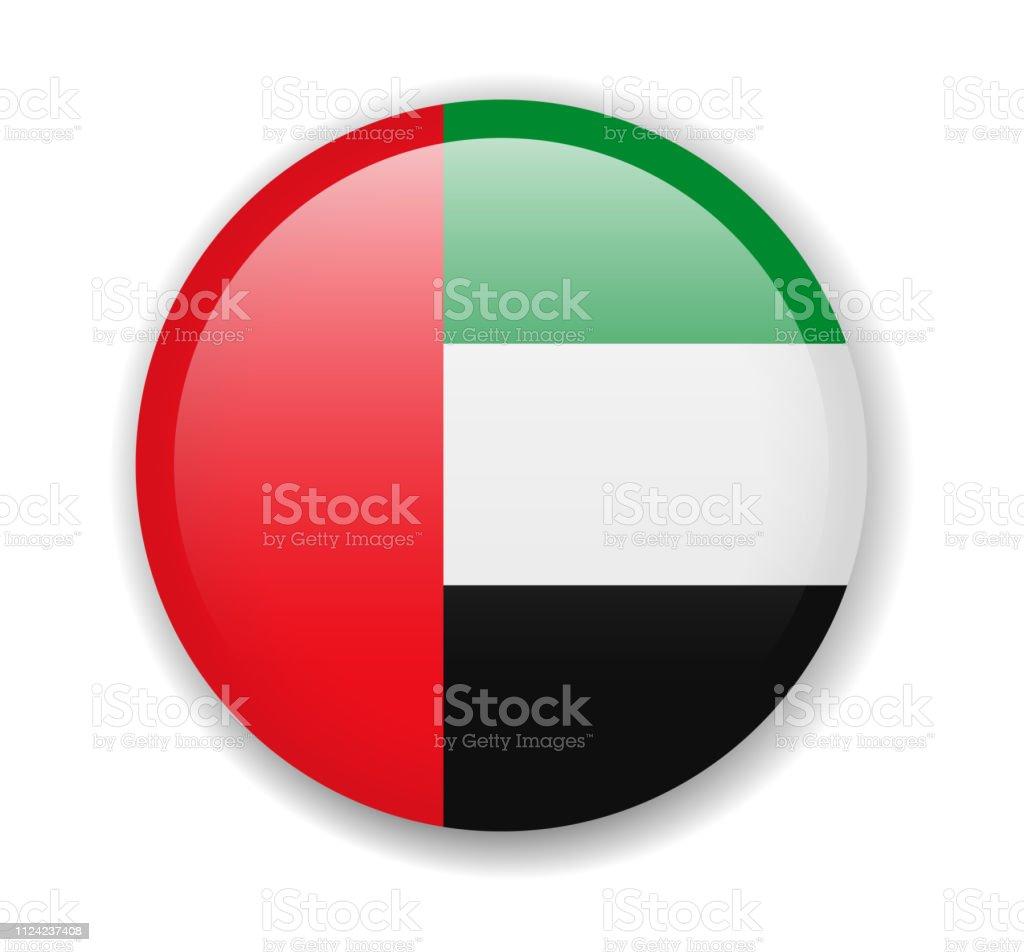 阿拉伯聯合大公國國旗。白色背景上的圓形明亮圖示 - 免版稅一組物體圖庫向量圖形
