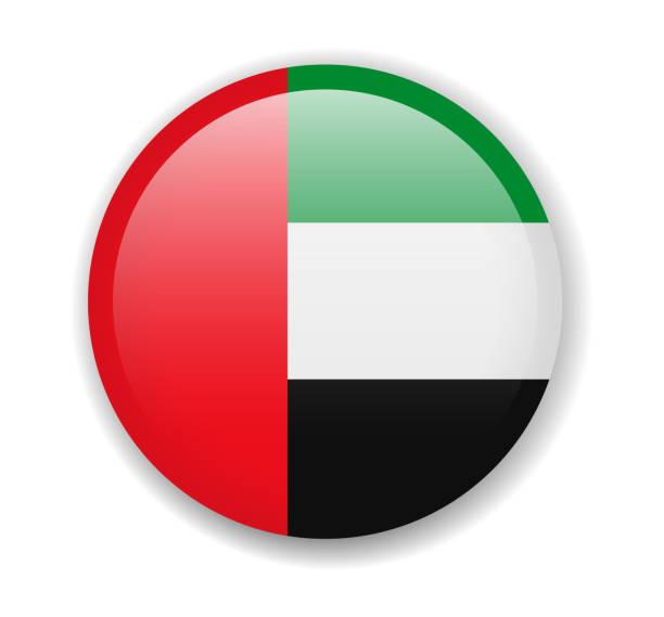 阿拉伯聯合大公國國旗。白色背景上的圓形明亮圖示 - uae flag 幅插畫檔、美工圖案、卡通及圖標