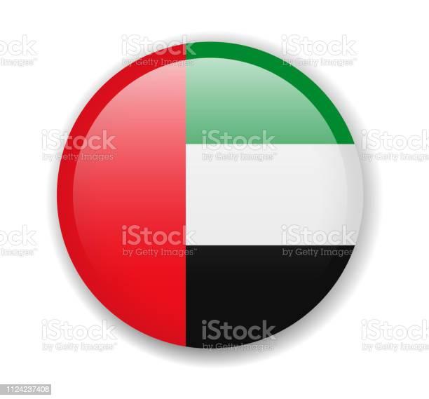 阿拉伯聯合大公國國旗白色背景上的圓形明亮圖示向量圖形及更多一組物體圖片