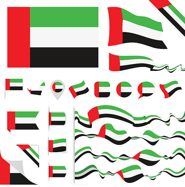 united arab emirates flag set - uae flag stock illustrations