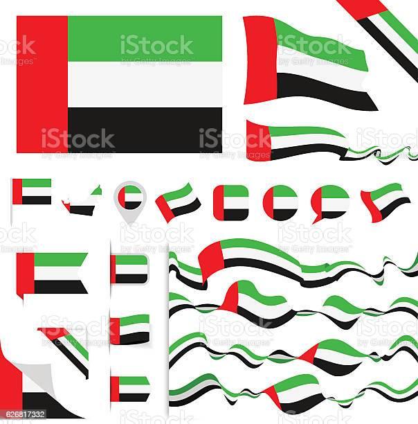 United Arab Emirates Flag Set向量圖形及更多事件圖片